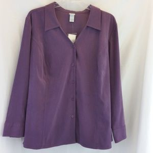 Purple Button Up Polyester/Spandex Top Sz 26/28W